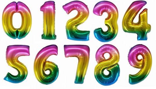 Цифра радужная шар фольгированный с гелием