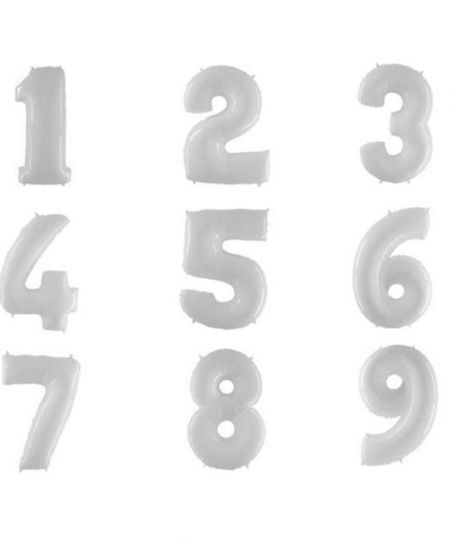 Цифра белая шар фольгированный с гелием