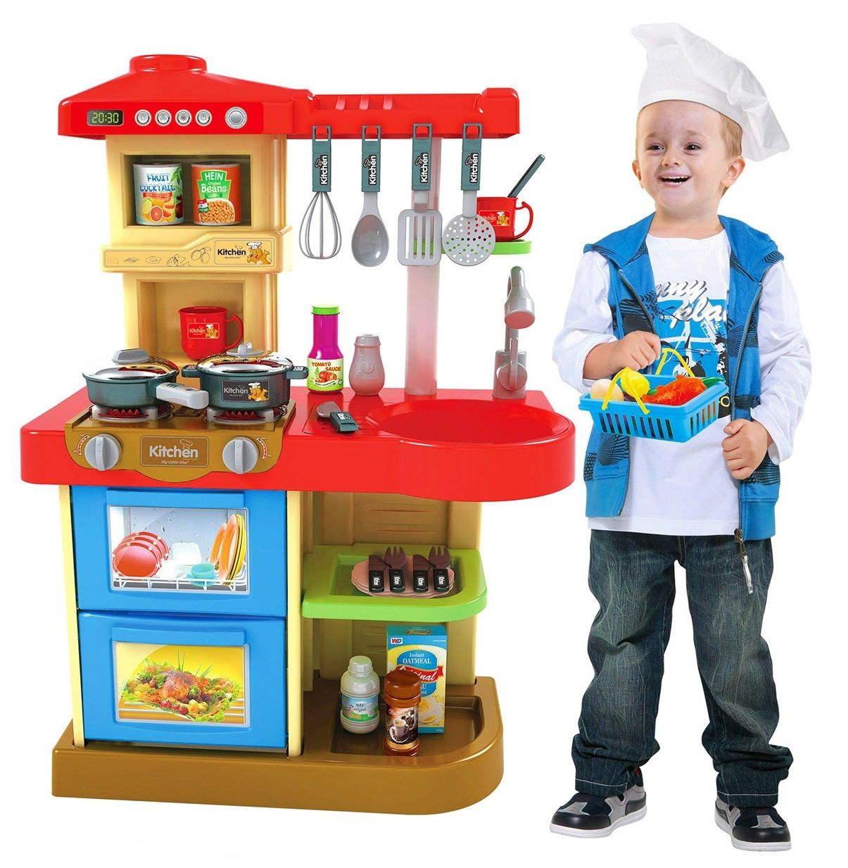 WD-B17 Детская игровая кухня с большой мойкой с музыкальными и световыми эффектами