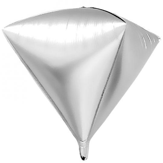 Кристалл серебряный 3d шар фольгированный с гелием