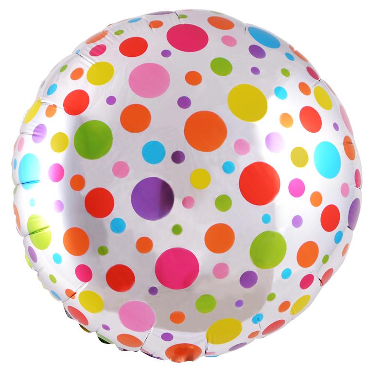 Круг в радужный горошек шар фольгированный с гелием