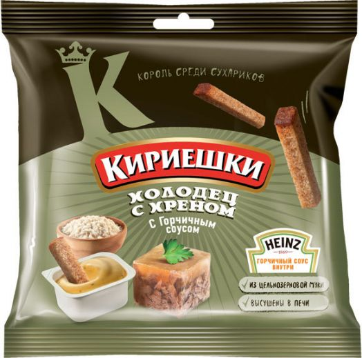 Сухарики Кириешки 60г ржаные Холодец/Хрен с горч. Хейнц 25г