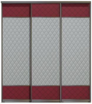 Трехдверные двери купе - Кожа+Стекло Командор, комбинированные
