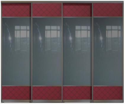 Четырехдверные двери купе - Стекло+Зеркало+Стекло Командор