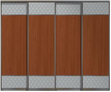 Четырехдверные двери купе - Кожа+ЛДСП+Кожа