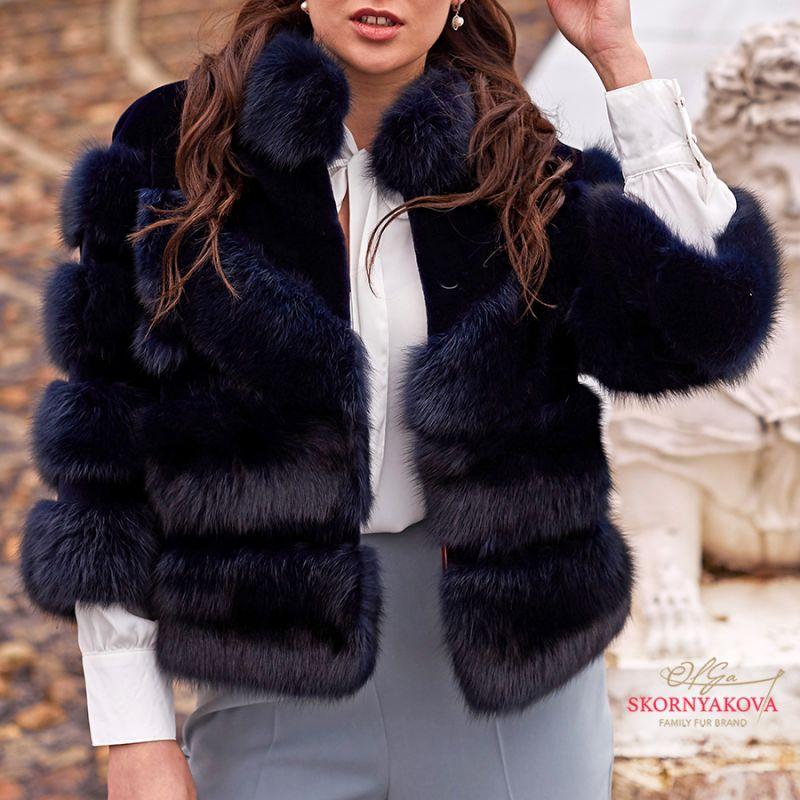 Куртка-болеро из соболя со стриженной норкой