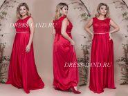 Красное вечернее платье с атласной юбкой