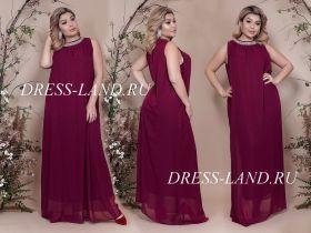 Вечернее платье свободного кроя цвет марсала