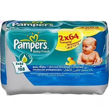 Салфетки влажные Pampers Baby Fresh Сменный блок Duo 2x64