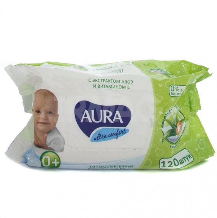 Салфетки влажные Аура 120шт детские Ultra Сomfort алоэ и витамин Е без крышки