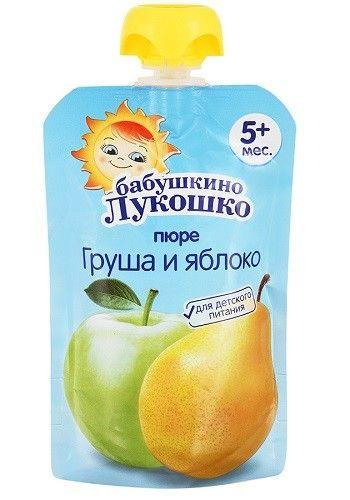 Пюре Бабушкино Лукошко груша/яблоко 90г Пауч