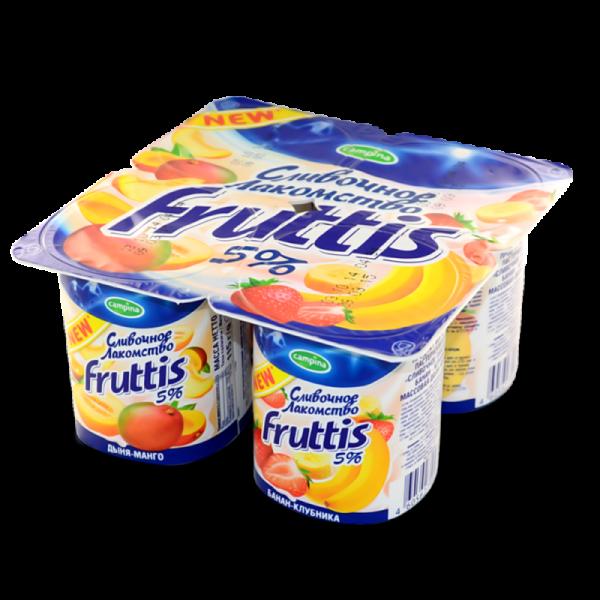 Йогурт Фруттис Сливочное лакомство 5% дыня-манго/банан-клубника 115гр. ООО Кампина