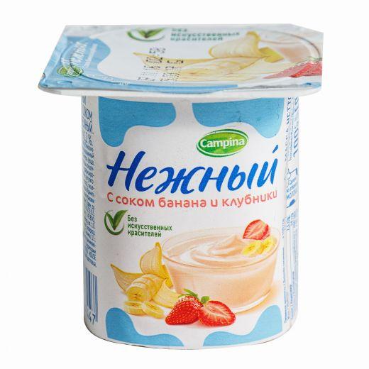 Йогурт «Нежный» с соком банана и клубники 1,2% 0,1 гр.