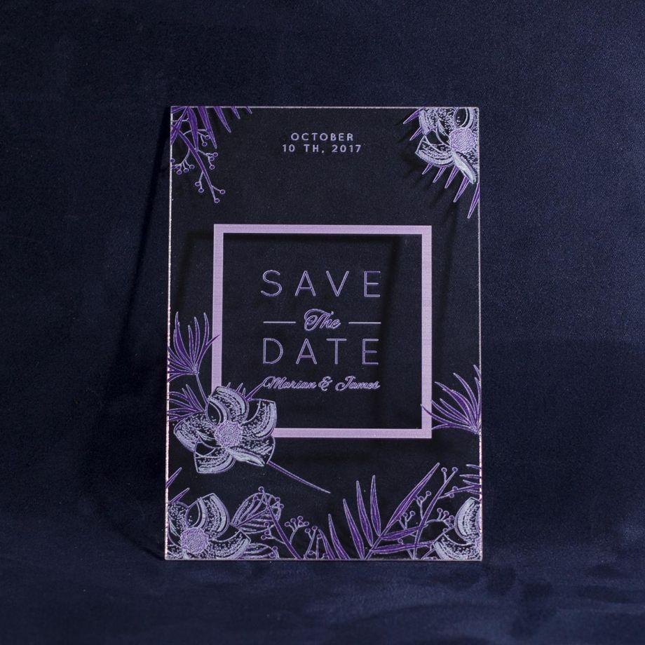 Свадебное приглашение из оргстекла с узором по краям