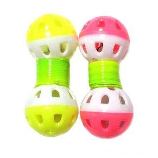 Игрушка для животных с бубенчиком Два шарика на пружинке, 2 шт, Цвет: Розовый-Жёлтый