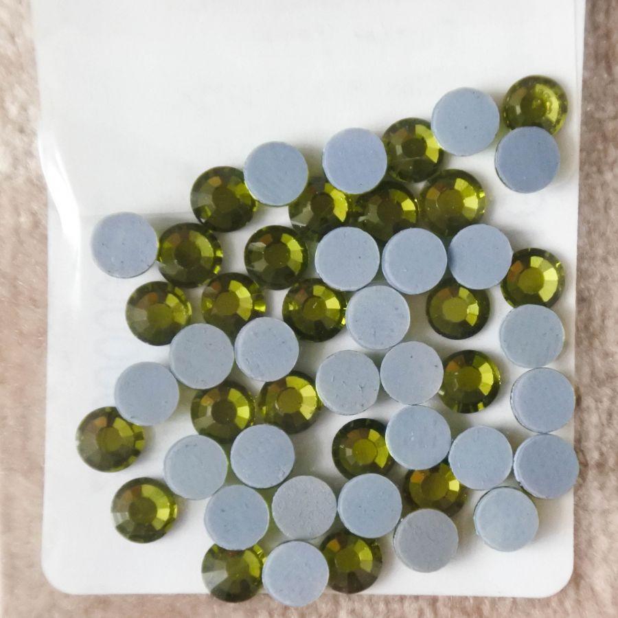 Стразы стеклянные клеевые, цвет Оливковый, SS16, 50 шт/упак