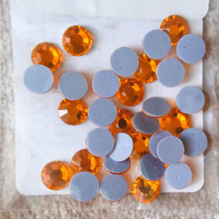 Стразы стеклянные клеевые, цвет Оранжевый, SS20, 35 шт/упак