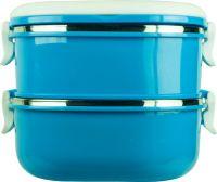Ланч-бокс двухсекционный квадратный 1,4 литра синий