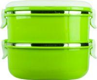 Ланч-бокс двухсекционный квадратный 1,4 литра зелёный