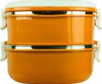 Ланч-бокс двухсекционный квадратный 1,4 литра оранжевый