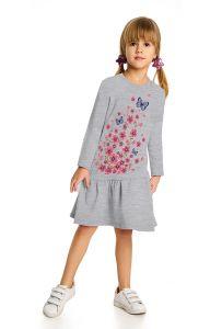 Серое с принтом платье для девочки