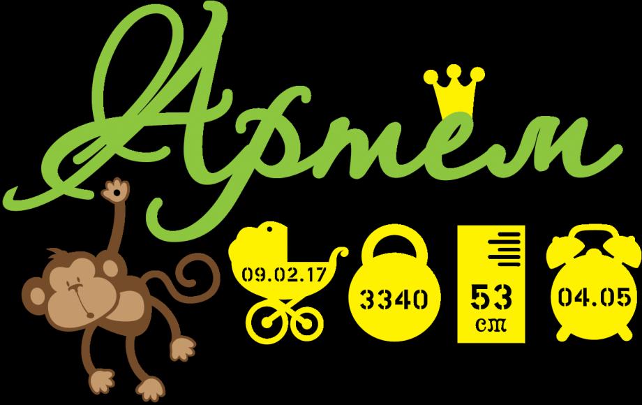 Метрика для ребенка простая с обезьянкой на заказ