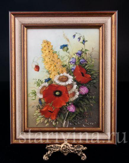 """Изображение Картина на фарфоре """"Полевые цветы"""", сер 20 в."""
