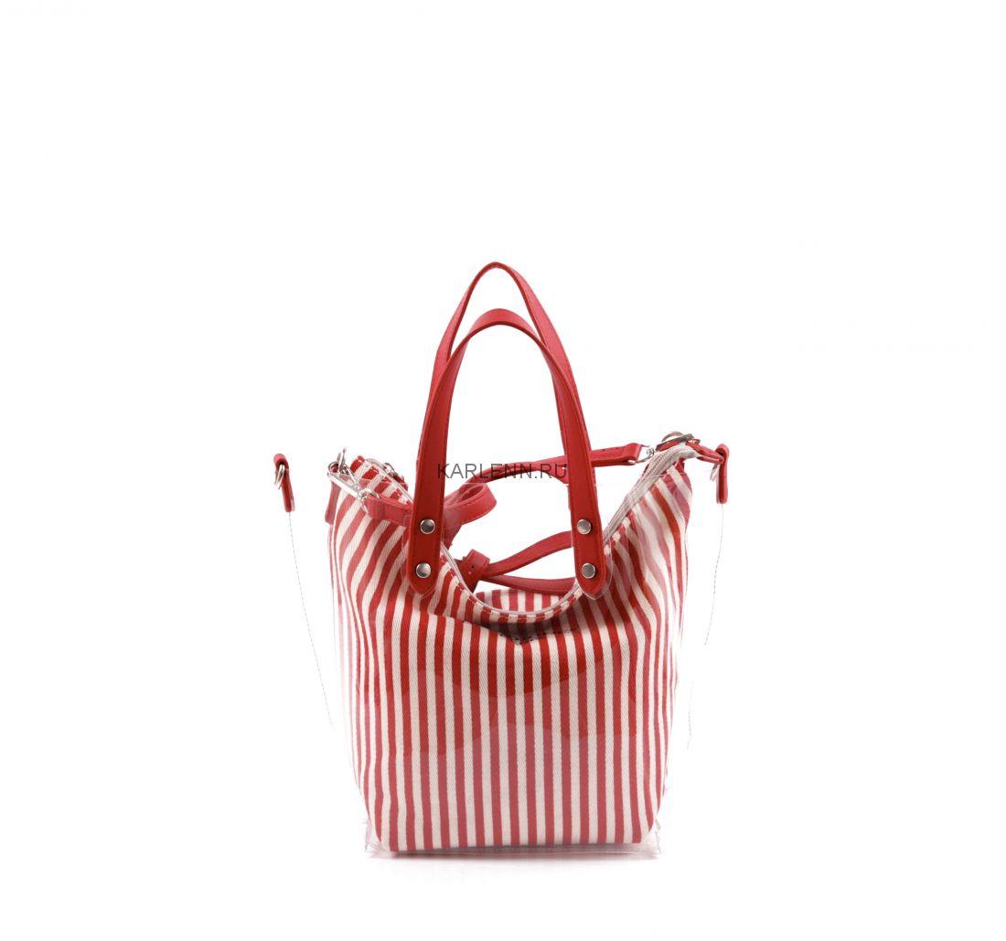 Прозрачная силиконовая сумка David Jones (красная)
