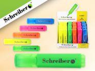 Текстмаркер, 5 цветов в ассортименте, скошенный наконечник, цветной пластиковый корпус (арт. S 2497)