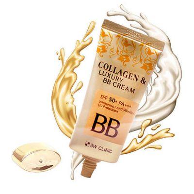 "3W Clinic Крем BB с коллагеном и золотыми капсулами ""Collagen&Luxury Gold"""