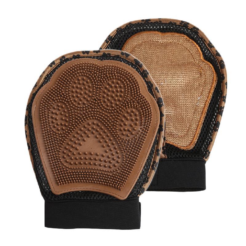 Варежка для груминга 3 в 1 Grooming Glove Лапка, цвет коричневый