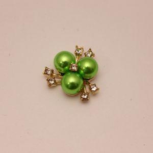 `Кабошон со стразами, цвет основы: золото, цвет стразы: зеленый, размер: 23мм, Р-КБС0330-7