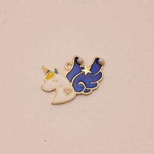 """`Подвеска """"Единорог с крыльями"""", цвет: синий, размер: 30*20мм, Р-КБС0340-2"""