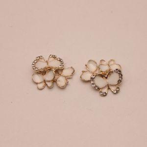 """`Кабошон со стразами """"Бабочки"""", цвет основы: золото, белые бабочки, размер 20*15мм, Р-КБС0357-1"""