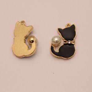 """Подвеска """"Кошка"""", цвет черный, размер: 32*25мм (1уп = 10шт), КБС0338"""
