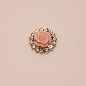 Кабошон со стразами, круглый, цвет основы: золото, розовая розочка, размер: 20мм (1уп = 10шт), КБС0349