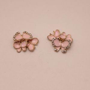 """Кабошон со стразами """"Бабочки"""", цвет основы: золото, розовые бабочки, размер 20*15мм (1уп = 10шт), КБС0357-2"""