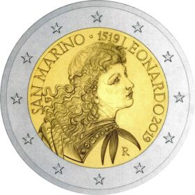 500 лет со дня смерти Леонардо да Винчи 2 евро Сан-Марино 2019
