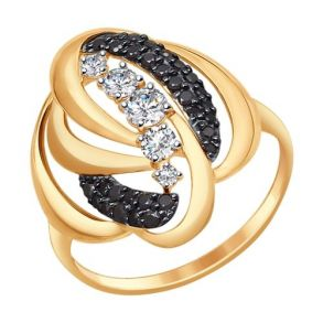Кольцо из золота с бесцветными и чёрными фианитами SOKOLOV 017329 золото 585
