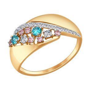 Кольцо из золота с зелёными, розовыми и бесцветными фианитами SOKOLOV 017344 золото 585