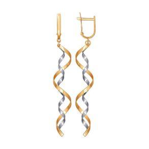 Серьги длинные из комбинированного золота SOKOLOV 021182 золото 585
