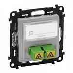 753330 Valena LIFE. Оптическая розетка для подключения оптоволоконных кабелей SC/APC. С лицевой панелью. Алюминий Legrand