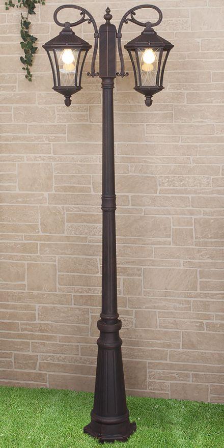 Уличный двухрожковый светильник на столбе Elektrostandard GLXT-1450F/2 Virgo F/2 капучино