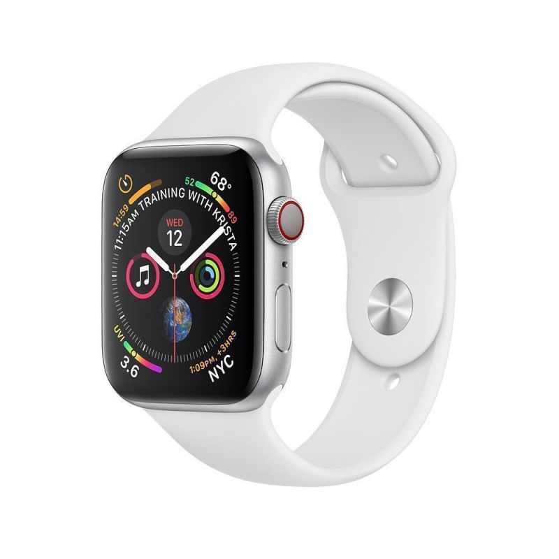 Apple Watch Series 4 44mm (GPS+Cellular) Silver Aluminum Case with White Sport Band (MTUU2)