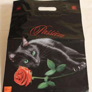 ! пакет с ручками полиэт черн кошка, ячейка: 22