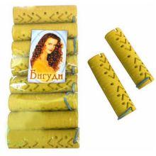 Резиновые бигуди-коклюшки 2х7,5 см, 10 шт, Цвет: Жёлтый
