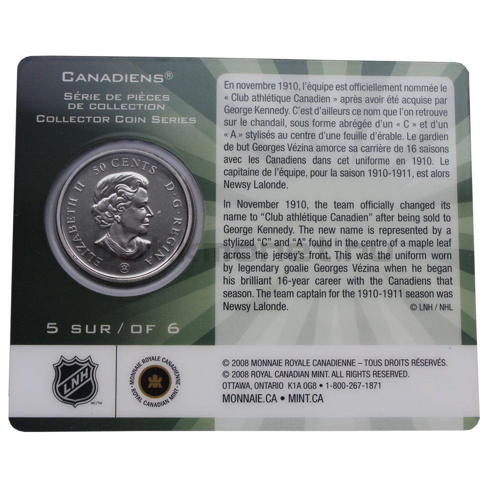 50 центов 2009 Канада 100 лет Монреаль Канадиенс 1910-1911 (В буклете)