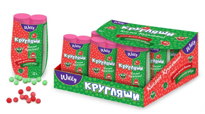 Драже Кругляши Willy вишня/арбуз 12г Конфитой