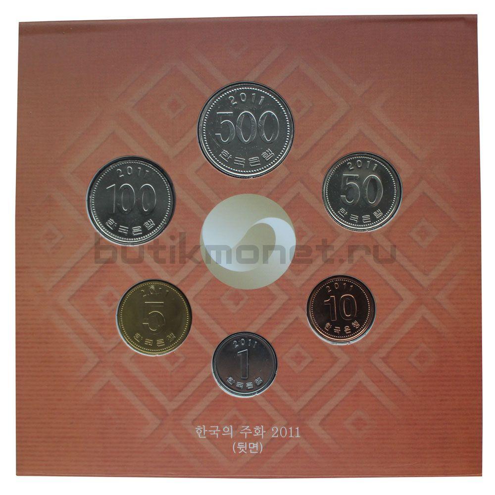 Годовой набор монет 2011 Южная Корея (6 штук)