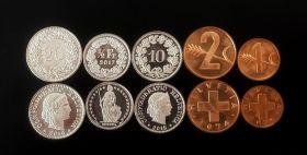 Набор монет ШВЕЙЦАРИЯ - 5шт, UNC